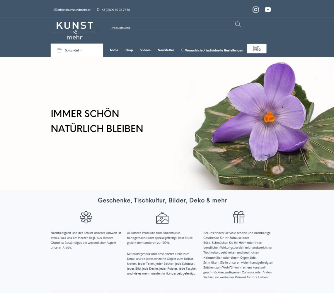 Screenshot Website Shop Kunst & mehr